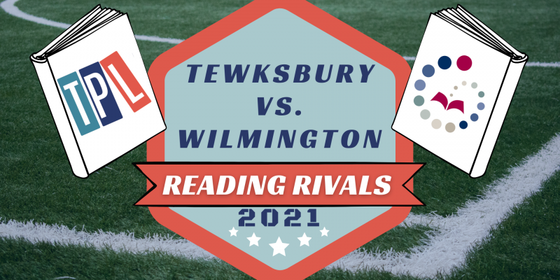 Two books- one with the TPL logo and one WPL- on a football field. Text says Tewksbury vs. Wilmington, Reading Rivals 2021